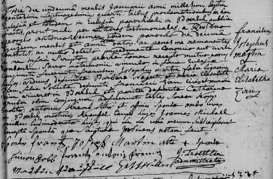 Mariage de Franciscus Josephus MARTIN et Maria Elisabeth ZIRNY le 11 janvier 1774 à Klingenthal - Archives départementales du Bas-Rhin, 3E52_31, vue 10